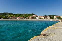 Port Ammos on the south coast of the Greek island of Othonoi in the Diapontie archipelago in the Ionian