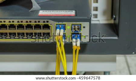 Label of fiber optic Network Server   router and servers in