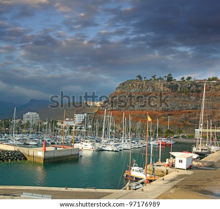 Port and town San Sebastian de La Gomera, Gomera Island, Canary Islands, Spain
