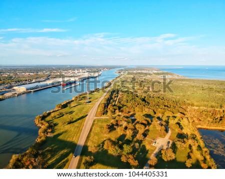 Port Arthur Texas Ship Chanel, viewing east.