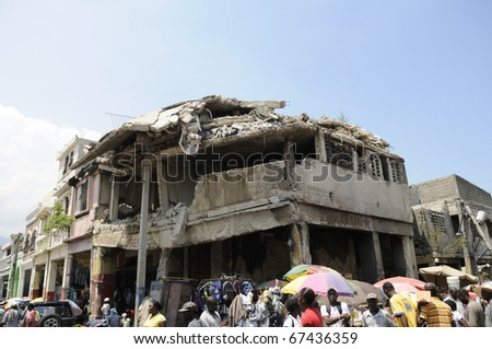 PORT-AU-PRINCE - AUGUST 27:  Most of the buildings in Downtown Port-Au-Prince still remains untouched and risky, in Port-Au-Prince,in Port-Au-Prince, Haiti on August 27, 2010. - stock photo
