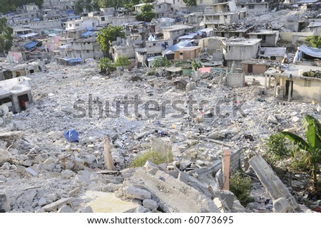 PORT-AU-PRINCE - AUGUST 28:Nothing has been done in most of the places  to clear the debris and rubble,  on August 28, 2010 in Port-Au-Prince, Haiti