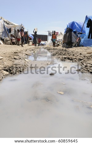 PORT-AU-PRINCE - AUGUST 28:   The tent cities are devoid of any proper sanitation and sewerage system,  in Port-Au-Prince, Haiti on August 28, 2010.