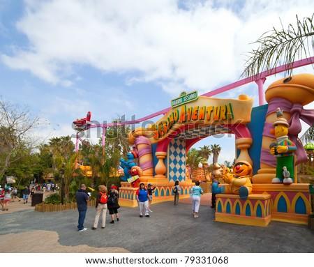 PORT AVENTURA, SPAIN - APRIL 13: Port Aventura theme park  in April 13, 2011 in Salou, Spain.  Sesame Street theme for the younger visitors of the park.