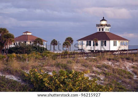 Port Boca Grande (Gasparilla Island) Lighthouse - seen at sunset