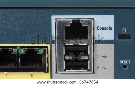 Port console of a ehternet firewall with USB port