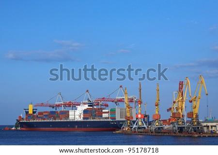 port cranes and ship