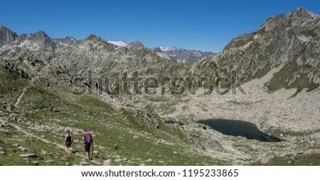 Port de Caldes lake of glacial origin at 2,412 m ASL, as seen from  Port de Caldes de Colomers mountain pass at 2,572 m ASL, Aiguestortes & Estany de Sant Maurici National Park, Pyrenees, Spain #1195233865