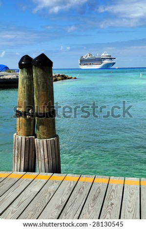 Port deck in Princess Cay Bahamas with cruise ship in background
