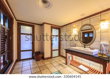 PORT DICKSON, MALAYSIA - SEP 15 : Rest room interior of Lexis Hotel on Sep 15, 2015 In Port Dickson. The hotel was award wining resort for CNBC\'s (London) International Property Award in 2007.