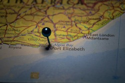 Port Elizabeth, city in South Africa pinned on geographical map