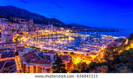Port Hercule in Monaco illuminated at night