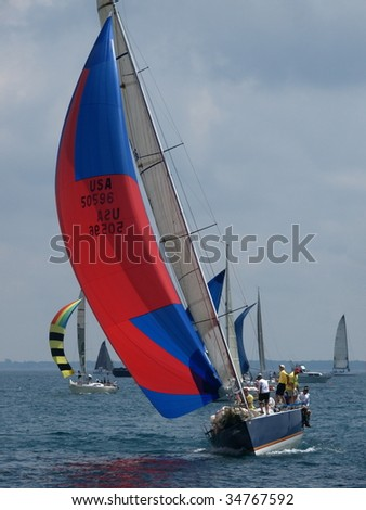 PORT HURON, MI - JULY 25: Participants sail away at the start of the Bayview Port Huron to Mackinac Race  July 25, 2009 in Port Huron, MI.