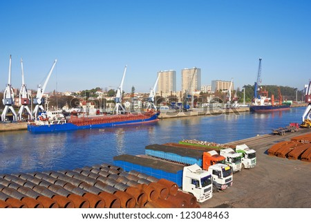 Port in Porto, Portugal, cranes and Large ships