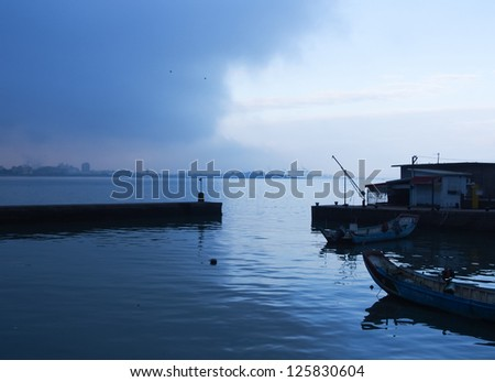 port in twilight