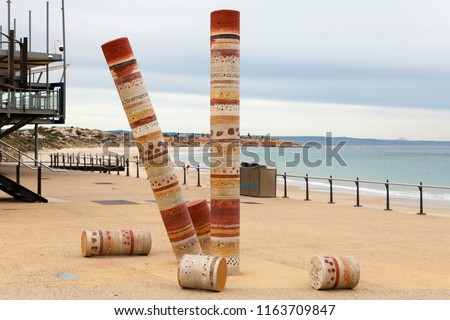 Port Noarlunga Beach with Jetty and Guildhouse art statue, ominent. Beach and Jetty in the Background. #1163709847
