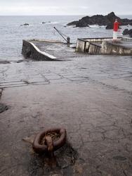 Port of Boqueirão near The Boqueirão Whaling Station Museum, the hauling ramp in the foreground was used to pull the sperm whales mechanically. Santa Cruz das Flores, Flores Island.