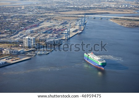 port of charleston south carolina and container ship, aerial shot - stock photo