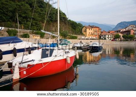 Port of Feriolo in italian Piedmont. - stock photo