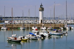 Port of Haliguen with the lighthouse at Quiberon in the Morbihan department in Brittany in north-western France
