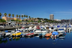 Port of Las Palmas with small boats in north Gran Canaria, Canary Islands.