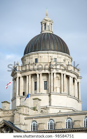 "Port of Liverpool Building. One of the famous ""Three Graces"" buildings at the Pier Head, Liverpool, England, United Kingdom - stock photo"