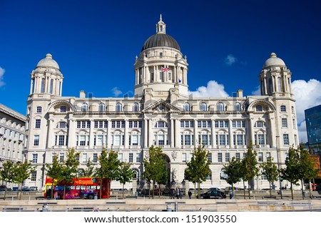 "Port of Liverpool Building. One of the famous ""Three Graces"" buildings at the Pier Head, Liverpool, England, United Kingdom #151903550"