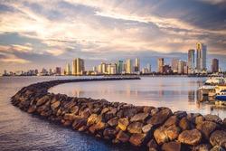 Port of Manila at manila bay, manila city, philippines at dusk