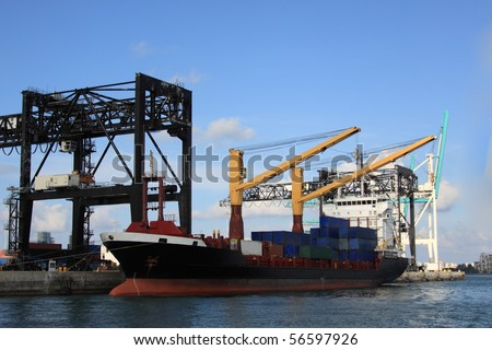 Port of Miami, cargo ship at harbour dock