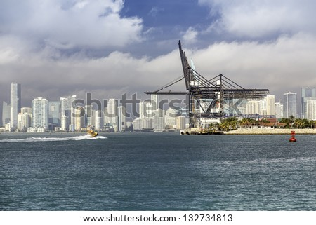 Port of Miami with  Miami skyline as background, South Florida
