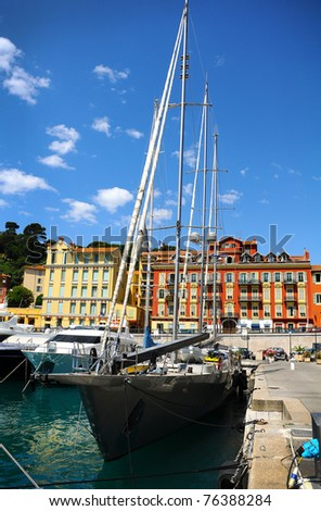 Port of Nice in southeastern France - stock photo