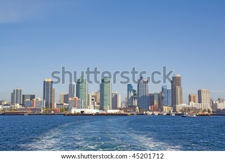 Port of San Diego with the skyline of the city in the background viewed from the water