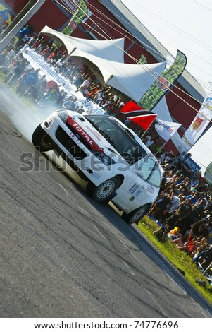 PORT OF SPAIN- APRIL 3: Action during the Trinidad and Tobago 2011 Motor Car Rally meet April 3, 2011 in Cipero, Trinidad & Tobago.  It is the largest motor sport event in the country.