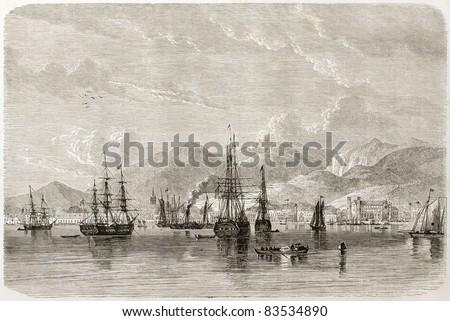 Port of Spain old view, Trinidad, Caribbean sea. Created by De Berard, published on Le Tour du Monde, Paris, 1860