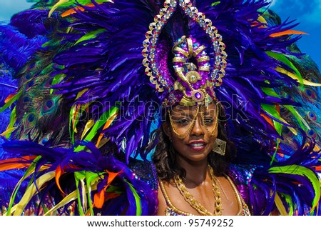PORT OF SPAIN,TRINIDAD – FEBRUARY 21: Wendy Fitzwilliam, Miss Universe 1998, enjoys herself in the Harts Carnival presentation 'Pantheon, February 21, 2012 in Port of Spain, Trinidad.