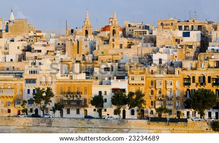 Port of Valletta, Malta in the Mediterranean showing the ancient buildings of this historic place