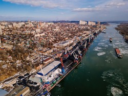 Port on Don river at Rostov-on-Don, aerial view from drone in winter day.