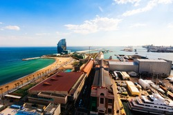 Port side of Barceloneta and sea beach in sunny day. Barcelona, Spain