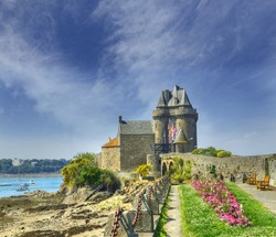 Port Solidor and the Solidor tower, Saint Malo in Brittany, France.