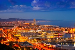 Port Vell and cityspace in Barcelona during evening. Catalonia, Spain