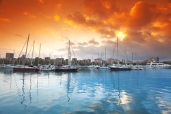Port Vell - marina in Barcelona. Spain.