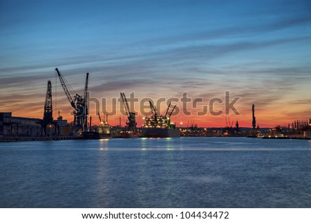 Port wharf at sunset background. Gdansk, Poland.