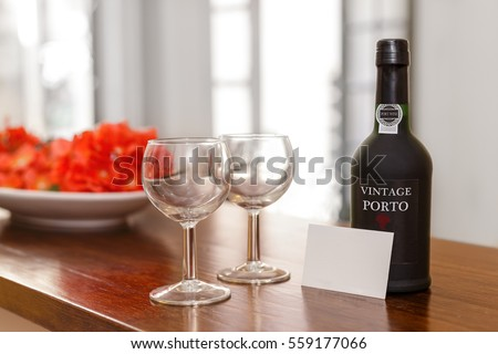 port wine  glasses and a ...