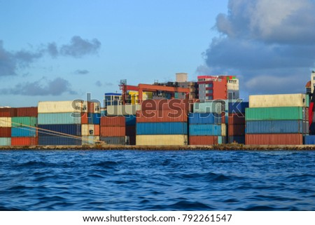 Port with containers