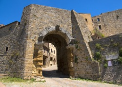 Porta all' Arco, one of city's gateways, is the most famous Etruscan architectural monument in Volterra, Italy