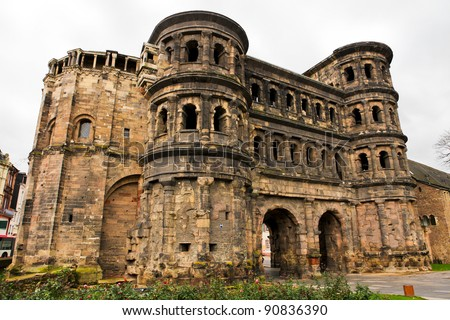 Porta Nigra in Trier, a famous Roman gate and landmark of the oldest city in Germany.