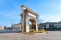 Porta Romana (translation. Roman's Gate) monument and square, Milan, Italy. Blue sky on the background.