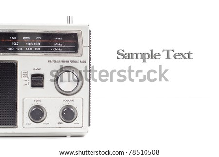 Portable AM/FM Radio Partial Profile with Space for Text