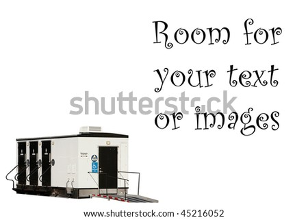 portable bathrooms isolated on white with room for your text