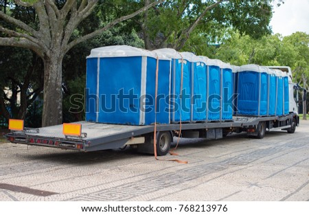 Portable bio-toilets on the truck. Preparing for the event. #768213976